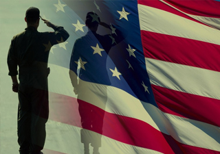 Image of soldier saluting The American Flag